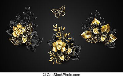 Set of bouquets of black and gold jewelry orchids, decorated with decorative twigs on dark background.