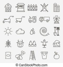 Set of black outline simple icons village theme.