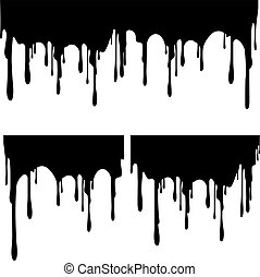 Set of black paint drips. Vector illustration for your design.