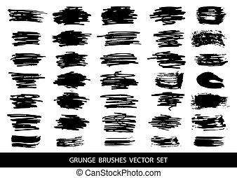 Set of black paint, ink, grunge