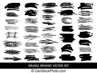 Set of black paint, ink, grunge, dirty brush strokes. Vector illustration.