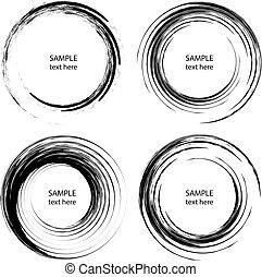 Set of black paintbrush grunge stripes in spiral form