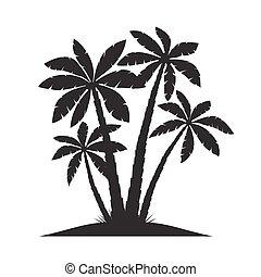 Set of Black Palm Trees. Vector illustration on white background.