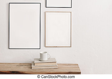 Set of black portrait picture frame mockups. Wall art ...
