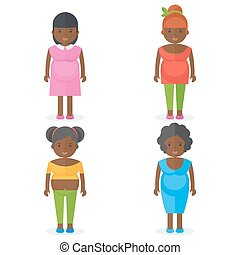 set of black pregnant woman