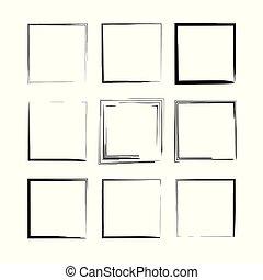 Set of black rectangle grunge frames. Vector illustration.
