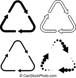 Set of black recycling icons