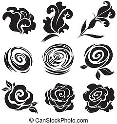 "Set of black rose flower design elements (from my big ""Floral collection"")"