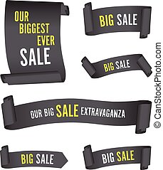 set of black sale banners