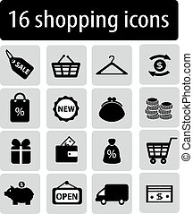 set of black shopping icons