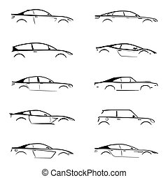 Set of black silhouette car on white background. Vector...