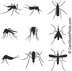 Set of black silhouette carrier mosquitoes isolated on white background