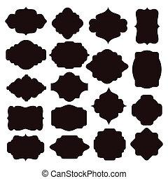 Set of black silhouette frames for badges