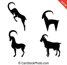 Set of black silhouette Goats icon isolated on white background.