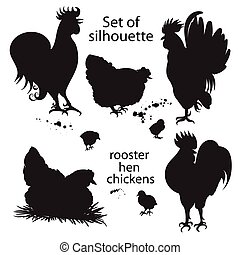 Set of black silhouette of roosters, hens and chickens.. Hand-drawn doodle