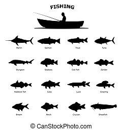 Set of black silhouette of sea river fish