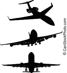 Set of black silhouette three airplanes