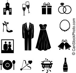 Set of black silhouette vector wedding icons depicting a church champagne gift rings shoe bride and groom pearls photograph bells food beverage Cupids arrow and decorated car