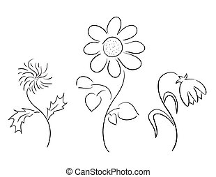 set of black silhouettes - flowers