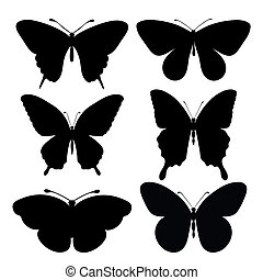 set of black silhouettes of butterflies