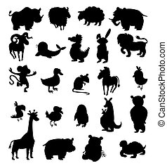 set of black silhouettes of different animals on a white background. vector illustration