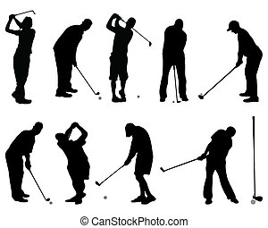 Golf Silhouettes Vector Set Sport Silhouettes Collection Of Men