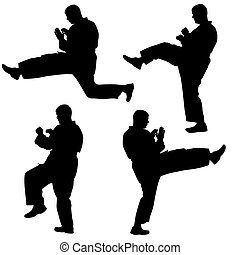 Set of black silhouettes of karate. Sport vector illustration.