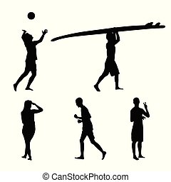 Set of black silhouettes of people actively engaged in sports on the beach. Running, playing volleyball and surfing.