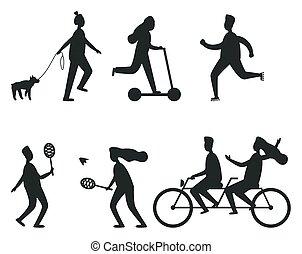 Set of Black Silhouettes of People Having Fun