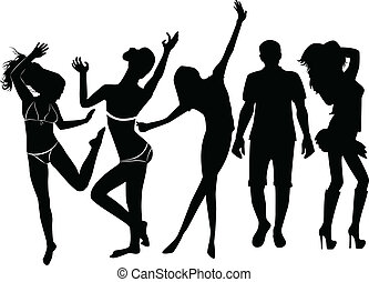 set of black silhouettes of people
