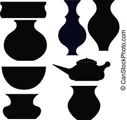 Set of black silhouettes pots