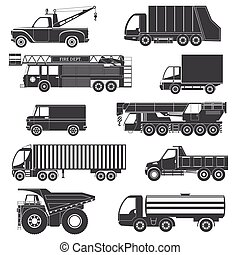 Black Silhouettes Truck Icons