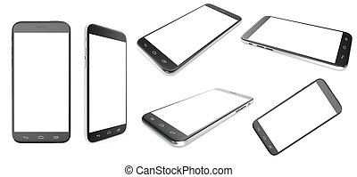 Set of black smartphone with a blank screen isolated on white background, 3d illustration