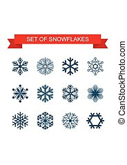 Set of Black Snowflake icon. Vector Illustration