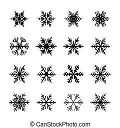 Set of black snowflakes