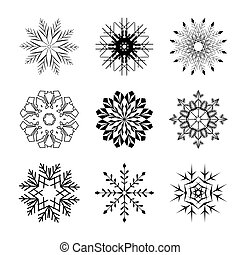Set of black snowflakes isolated silhouette. Vector icons