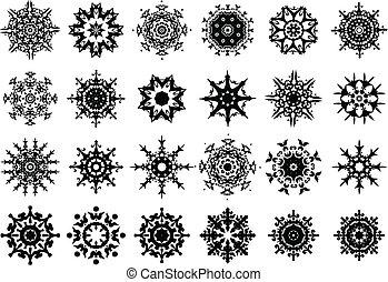 Set of black snowflakes silhouette. Vector illustration