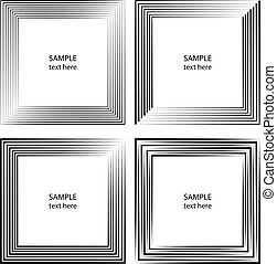 Set of black speed lines in abstract frame form