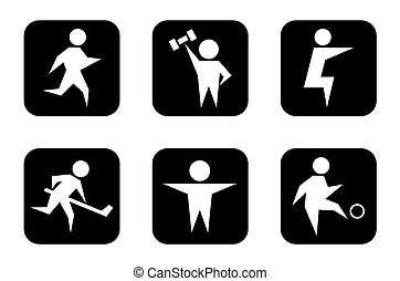 set of black sports symbols