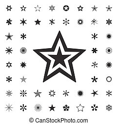 Set of Black Stars. Vector Illustration.