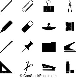 Set of black stationery icons, vector illustration