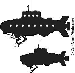 Set of black submarine silhouettes