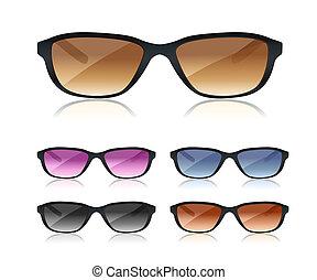 set of black sunglasses