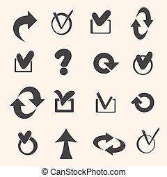 Set of black symbols.