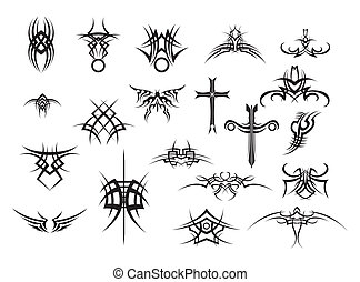 set of black tattoos on white backg