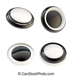 Set of black template buttons isolated