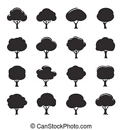 Set of Black Trees Icon. Vector Illustration.