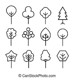 Set of black Trees icons. Vector Illustration.