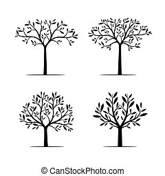 Set of Black Trees with Leaves. Vector Illustration.