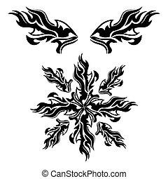 Set of black tribal elements